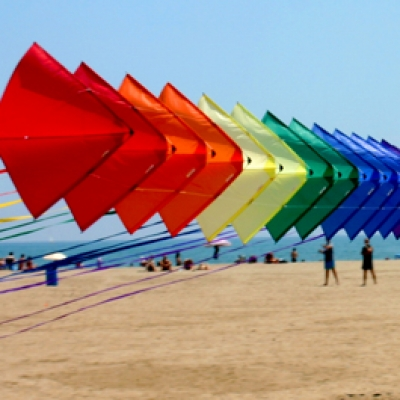 Kites flying on Malvarrosa Beach